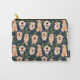 Golden Retrievers and Ferns on Navy Carry-All Pouch