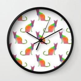 Watercolor Cat Silhouette Pattern Wall Clock
