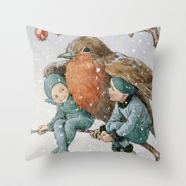 """Mr Robin Snow Shelter"" by Margaret Tarrant Throw Pillow"