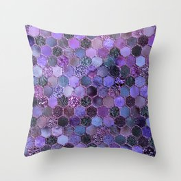 Purple geometric hexagonal elegant & luxury pattern Throw Pillow