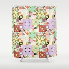 Geometric Quilt Pattern Shower Curtain