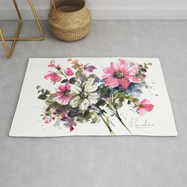 Blooming Joy Watercolor Loose Floral Painting by Mylittlebasil.studio Rug