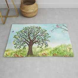 Little Song Birds in a Lovely Tree Rug