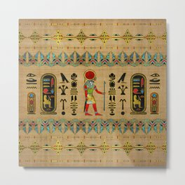 Egyptian Re-Horakhty  - Ra-Horakht  Ornament on papyrus Metal Print