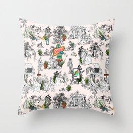 Toile de Jouy Between eras 01 Throw Pillow