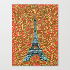Eiffel Tower Drawing Meditation - Blue/Red/Yellow Canvas Print