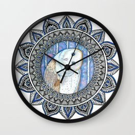 Winter Barn Owl Mandala Wall Clock