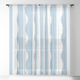 Classic Wavy Stripe Pattern 855 Light Blue Sheer Curtain