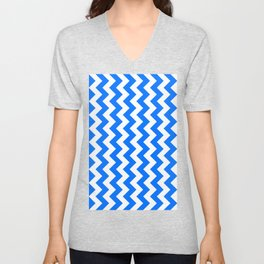 White and Brandeis Blue Vertical Zigzags Unisex V-Neck