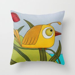 Yellow Wren Quail Throw Pillow