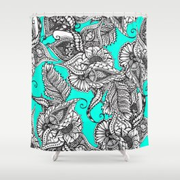 Boho black white hand drawn floral doodles pattern turquoise Shower Curtain
