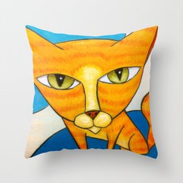 Cute Orange Kitty Throw Pillow