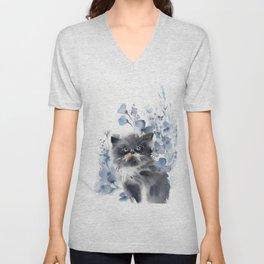 Kitten and blue florals Unisex V-Neck