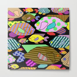 Geometric Fish - Abstract, retro design Metal Print