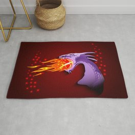 Purple Dragon breathing with fire Rug