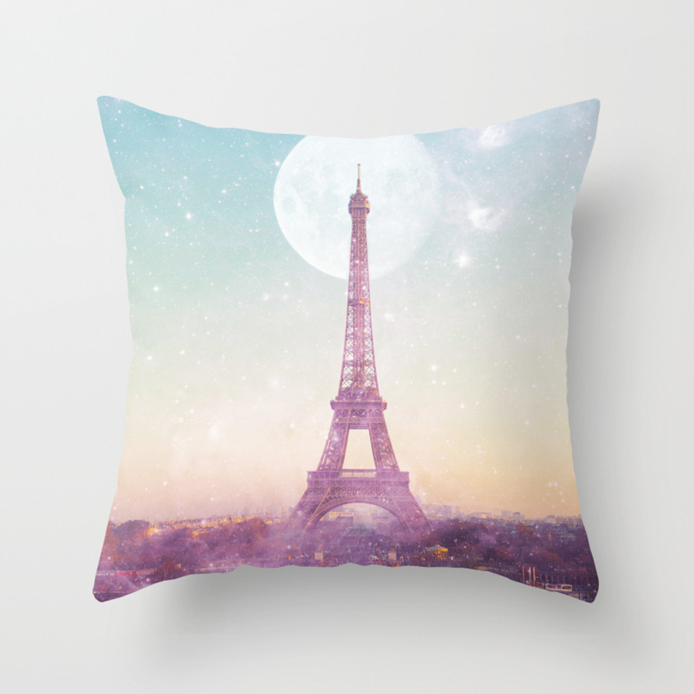 I Love Pink Paris Eiffel Tower - Full Moon Univers… Throw Pillow by Deificusart PLW6926601