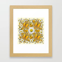 MONTAGE WHITE DAISIES  GREEN FROGS & BUTTERFL IES Framed Art Print