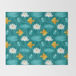 Tangram goldfish and water lillies Throw Blanket