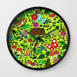 Cartoon Garden Scene Wall Clock