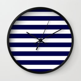 Navy Blue & White Stripes- Mix & Match with Simplicity of Life Wall Clock