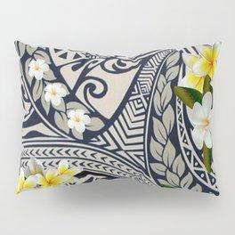 Traditional Hawaiian Tapa and Plumeria Pillow Sham