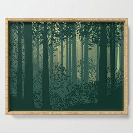 Green Forest Landscape Serving Tray