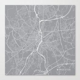 Worcester Map, Massachusetts USA - Pewter Canvas Print