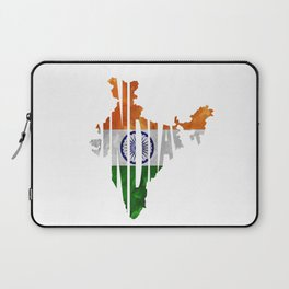 India World Map / Indian Typography Flag Map Art Laptop Sleeve