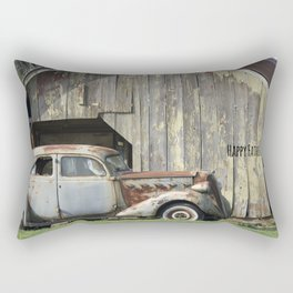 Happy Father's Day Dad Vintage Automobile and Weathered Barn Rectangular Pillow