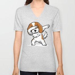 Funny Dabbing Cavalier King Charles Spaniel Dog Dab Dance Unisex V-Neck