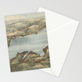 Vintage Pictorial Map of Lake Sunapee (1905) Stationery Cards