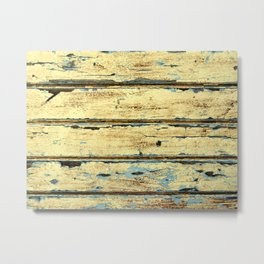 Yellow Planks, Wood Texture Decor Metal Print