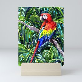 Scarlet Macaw in Rainforest Mini Art Print