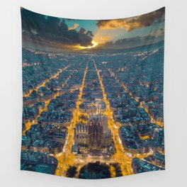 Sunset in Barcelona Wall Tapestry
