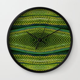 Bright Yellow Green Snake Reptile Scales Photograph Wall Clock