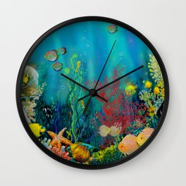 Undersea Art With Coral Wall Clock