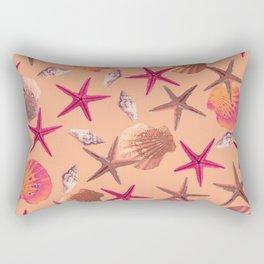 Swimming Seashells and Starfish Orange Rectangular Pillow