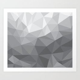 Gray Polygon Background Art Print