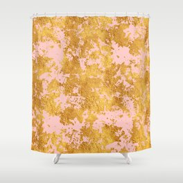 Luxury Marble and Gold Textures on Pastel Pink Shower Curtain