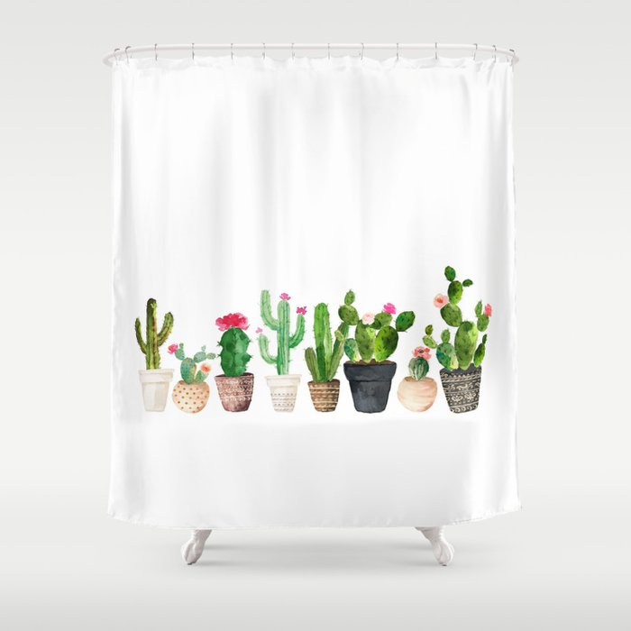 Cactus Shower Curtain By Elisagordon
