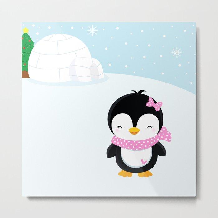 Cute penguin girl  Metal Print
