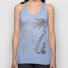 Simply Tropical Palm Leaves in White Gold Sands Unisex Tank Top