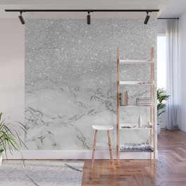 Modern faux grey silver glitter ombre white marble Wall Mural