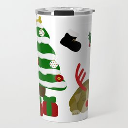 Christmas Sleeping Bulldog - Reindeer Under the Tree Travel Mug