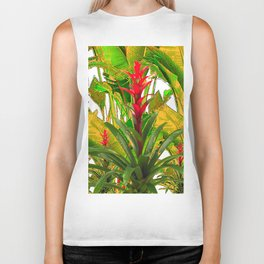 WHITE ABSTRACT GREEN-YELLOW JUNGLE & TROPICAL RED FLOWERS Biker Tank