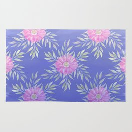 Hand painted violet pink watercolor modern daisies floral Rug