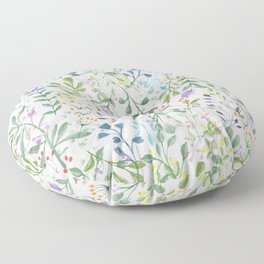 Forever Spring Watercolor Pattern | Multi-Color on White Floor Pillow