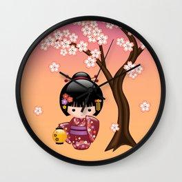 Japanese Sakura Kokeshi Doll Wall Clock