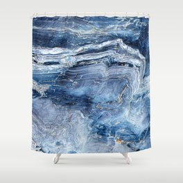 """Travel & nature photography """"details of a rock in blue colors. Abstract fine art mineral print.  Shower Curtain"""