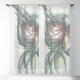 Wise Owl Portrait_Owl 3 Sheer Curtain